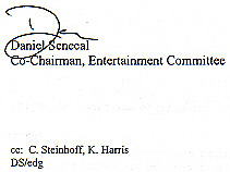 Signature of Daniel Senecal, Co-Chair of the Entertainment Committee, Essex County Club